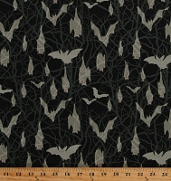 Cotton Bats Spooky Bats in Trees Branches Fright Night Glow-In-The-Dark Cotton Fabric Print by the Yard (9169G-99)