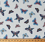 Cotton Butterflies Teal Blue Gray Butterfly Insects Bugs on Off-White All-A-Flutter Cotton Fabric Print by the Yard (DC-7755-TEAL-D)