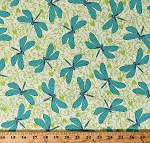 Cotton Dragonflies Insects Bugs Blue Dragonfly on Green Floral Scroll Hayden Cotton Fabric Print by the Yard (1649-26304-E)