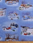 Cotton Vintage Red Truck Trucks Trailers Campers Camping RVs Caravans Holiday Christmas Trees Winter Snow Snowy Landscape Snowmen Deer Scenic Cotton Fabric Print by the Yard (3500BLUE)