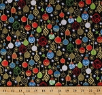 Cotton Holiday Ornaments Christmas Xmas Decorations Festive Stars Bows Lights Metallic Shimmer Gold Glitter Sparkle Enchanted Christmas Black Cotton Fabric Print by the Yard (3989-60808-886)