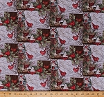 Cotton Birds Cardinals Blue Jays Bird Watching Birdwatching Birdhouses Snowy Branches Festive Holiday Red Birds Snow Winter Christmas Window Scenic Cotton Fabric Print by the Yard (64471-A620715)