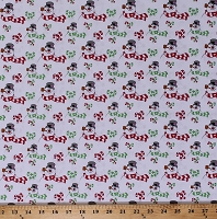 Cotton Frosty the Snowman Allover Winter Candy Canes Holiday Everyone's Fav Snowman Kids Cotton Fabric Print by the Yard (1649-25887-Z)