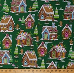 Cotton Gingerbread Houses Men Candy Canes Christmas Holiday Kitchen Baking Winter Novelties III Cotton Fabric Print by the Yard (04957-44)