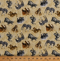 Cotton African Animals Zebras Hippos Elephants Rhinos on Tan Animal Print Wildlife Cotton Fabric Print by the Yard (112-29601)