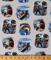 Cotton Fisherman Fishing Scenes on Cream Fish Bass Fishing Boats Sports Afield Cotton Fabric Print by the Yard (8404CREAM)