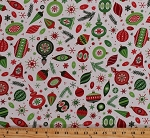 Cotton Christmas Vintage Ornaments Red and Green Decorations Bells Lights Bulbs Stars Snowflakes Pine Branches Sprigs Holidays Festive Winter Wonderland Patrick Lose White Cotton Fabric Print by the Yard (62710-6470715)