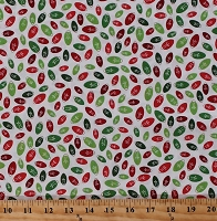 Cotton Old Fashioned Christmas Lights Light Bulbs Red and Green Holiday Bulbs Allover on White Patrick Lose Winter Wonderland Bright Christmas Cotton Fabric Print by the Yard (62699-G550715)