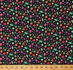 Cotton Christmas Presents Gifts Candy Canes Holiday Lights Allover on Black Patrick Lose Packages Cotton Fabric Print by the Yard (66712-1100715)