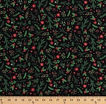 Cotton Holiday Greenery Holly Leaves Berries Poinsettias Stars Christmas Floral on Black Patrick Lose Winter Wonderland Cotton Fabric Print by the Yard (64838-1100715)