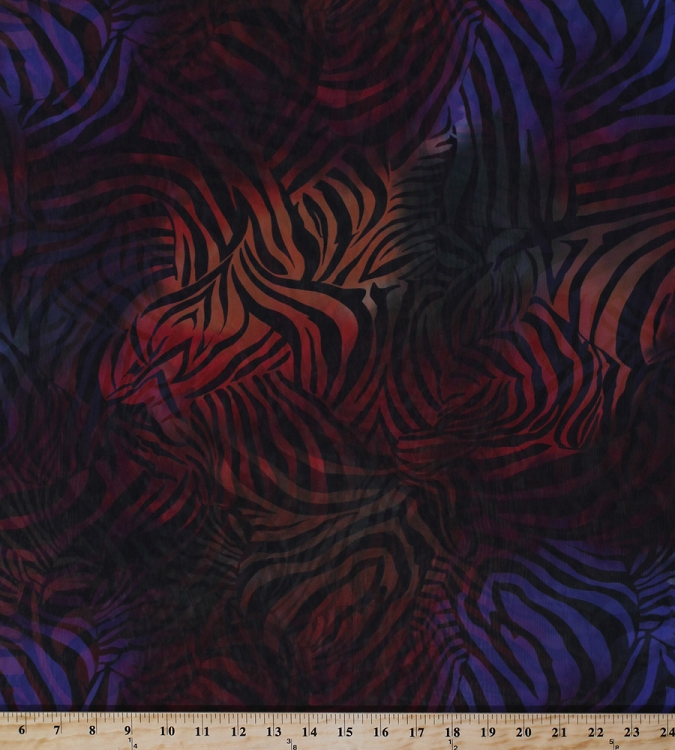 Chiffon Sheer Zebra Stripe Rainbow Multi Colored Fabric