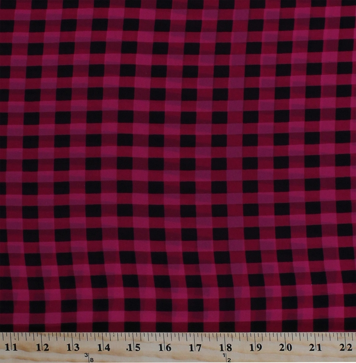 60 Quot Raspberry Pink Black Plaid Soft Flowy Sheer Polyester