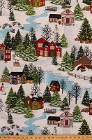 Cotton Christmas Village Cozy Scene Houses Bridges Pines Snowmen Snowy Hills Holiday Winter Cotton Fabric Print by the Yard (4248-11)