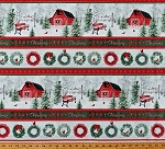 Cotton Christmas Wreaths Cardinals Barns Trees Snowy Winter Stripe (4 Parallel Stripes) Holiday Wishes Cotton Fabric Print by the Yard (6933-86)