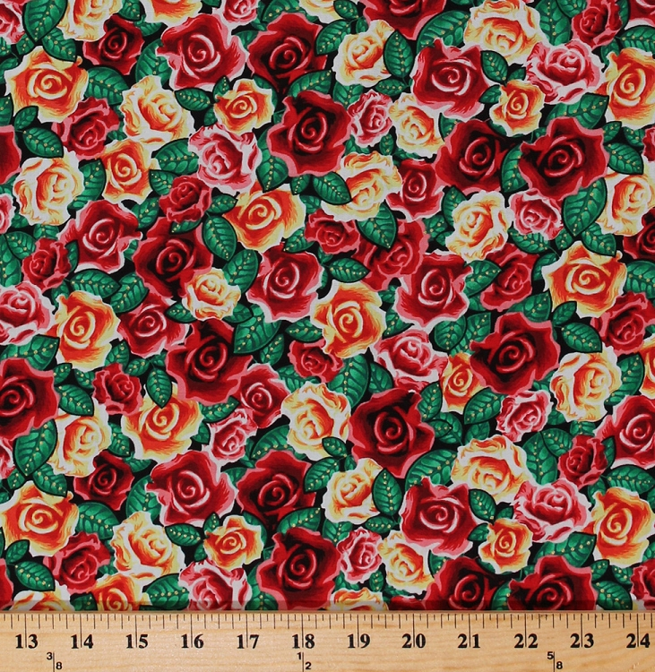 Cotton Roses Red Yellow Rose Flowers Floral Lady Of