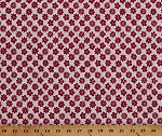Cotton Redwork Red Flowers on White Floral Botanical Garden Spring Nature Cotton Fabric Print by the Yard (D402.16)