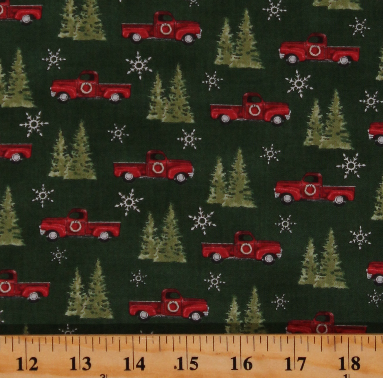 Cotton Red Trucks Christmas Trees Winter Snowflakes Homegrown Holidays Green Cotton Fabric Print By The Yard 19942 15