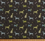 Home Decor Dogs Tossed Blue Green Adorable Dogggies Balls Bones on Dark Taupe Decorator Upholstery Weight Fabric by the Yard (D451.09)