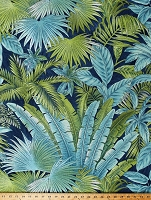 Home Decor Tommy Bahama Bahamian Breeze in Peninsula Leafy Palm Fronds Jungle Tropical Green Blue Indoor Decor Upholstery Weight Fabric by the Yard (D451.12)
