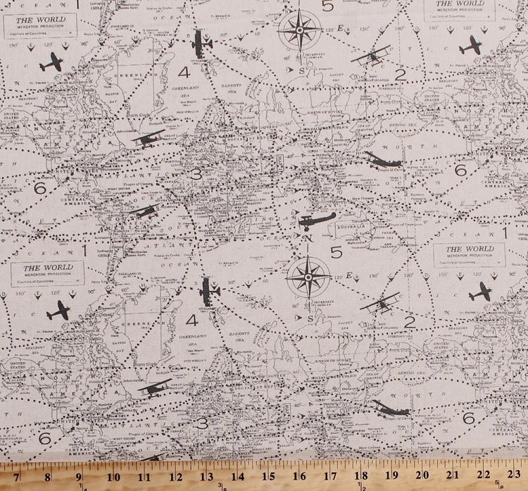 54 lightweight duck canvas map of the world airplanes planes 54 lightweight duck canvas map of the world airplanes planes cartography compass rose gray planes canvas fabric by the yard d45202 gumiabroncs Images