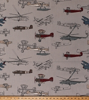 Home Decor Airplanes Biplanes Helicopters Tossed Vintage Planes on Light Taupe Aeronautical Decorator Upholstery Weight Fabric by the Yard (D452.25)