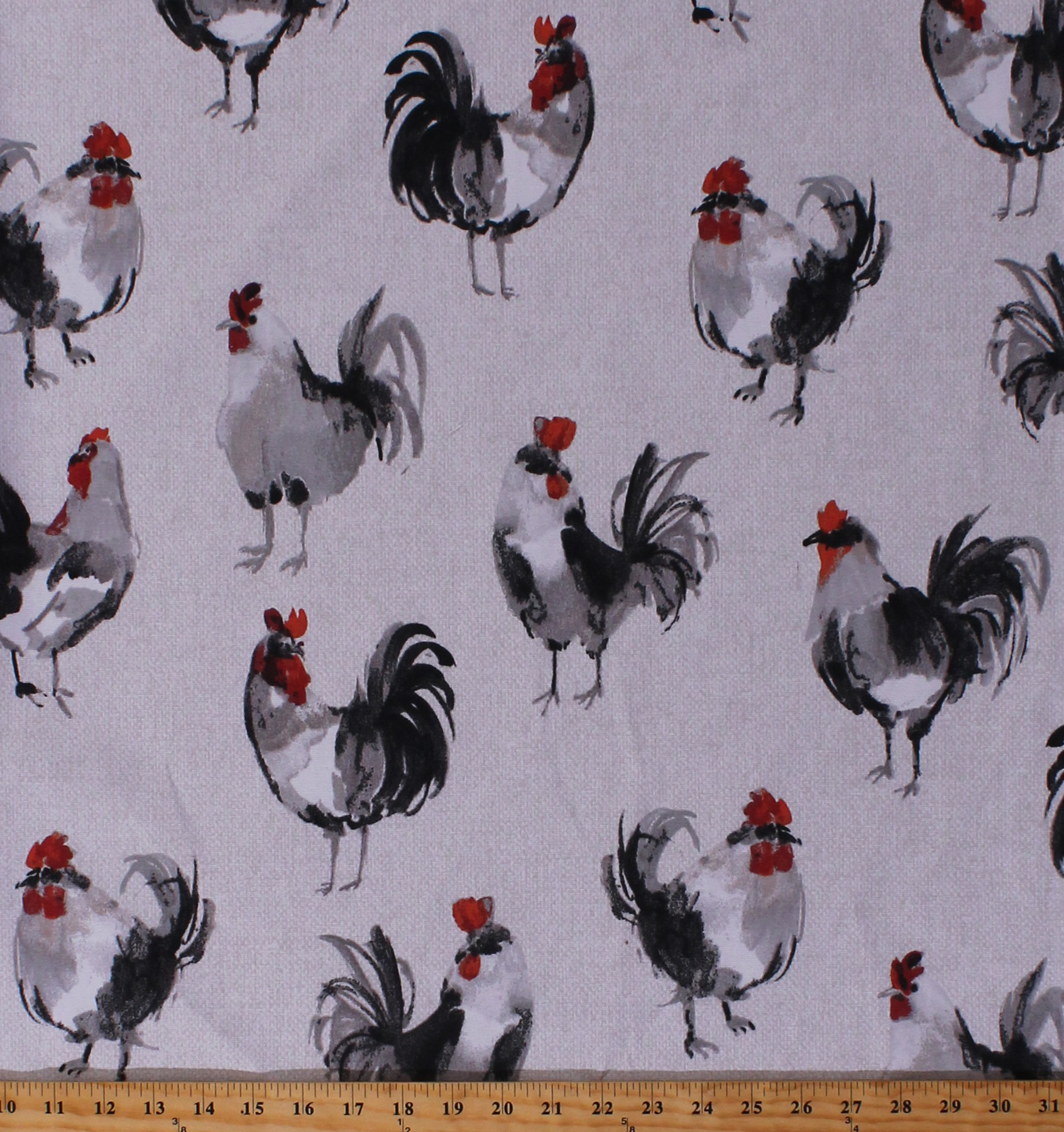 Home Decor Roosters Chickens Watercolor Look Birds Farm Animals On Cream Taupe Basket Weave Look 44 Wide Duck Fabric By The Yard D456 05