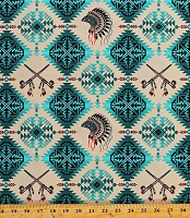 Cotton Southwestern Tribal Designs Diamonds Arrows Native American Indian Headdress Warbonnets Pipes Native Spirit Turquoise Beige Cotton Fabric Print by the Yard (531TURQUOISE)
