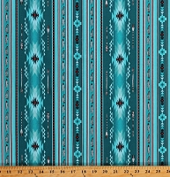 Cotton Southwestern Stripe Arrows Feathers Native American Aztec Tribal Designs Native Spirit Turquoise Cotton Fabric Print by the Yard (530TURQUOISE)