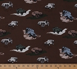 Cotton Jeeps® Jeep® Wranglers Renegade Rubicon Off-Road Vehicles Cars Transportation SUVs Sports Utility Vehicles on Brown Cotton Fabric Print by the Yard (c6470-brown)