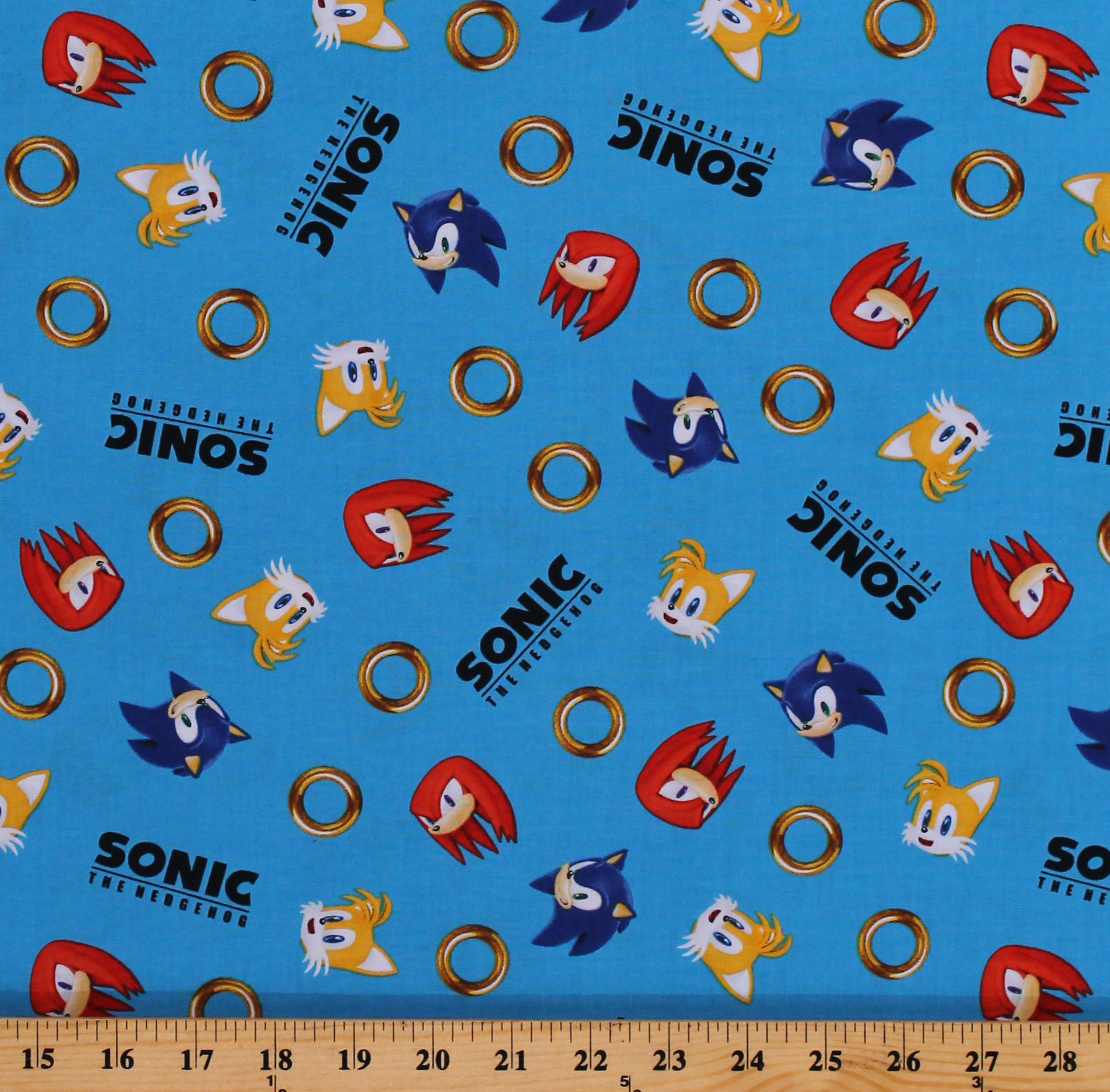 Cotton Sonic The Hedgehog And Friends Gotta Go Fast Kids Video Games Blue Cotton Fabric Print By The Yard Axx 73949 4 Blue