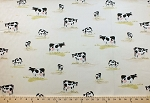 Cows Farm Animals on Cream Off-White Bovine Cotton Sateen Fabric Print (cow-cotton-sateen-roll)
