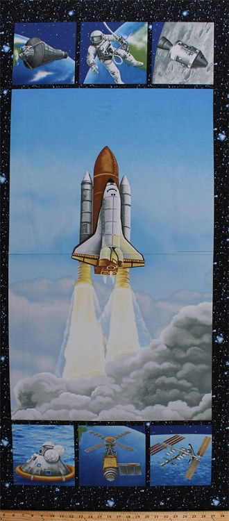23 5 x 56 panel lift off space shuttle astronauts for Space mission fabric