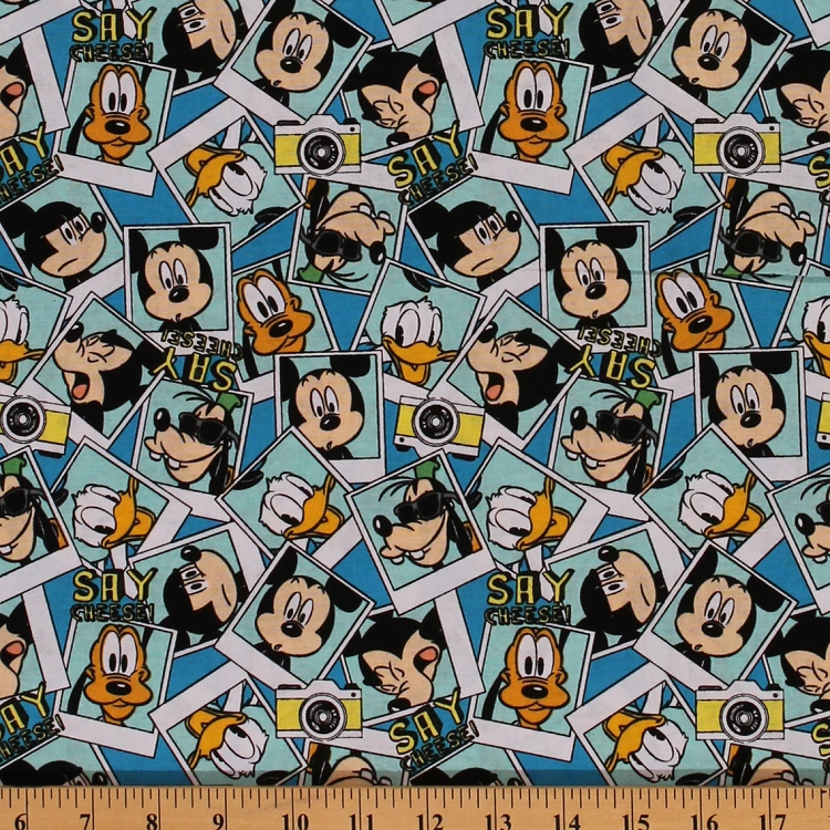 Cotton Mickey Packed Photographs Goofy Donald Duck Disney Cameras Blue Fabric Print By The Yard 15082