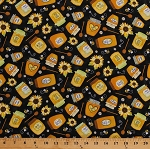 Cotton Bees Honeybees Honey Jars Sunflowers Daisies Daisy Flowers Beekeepers Beekeeping Black Cotton Fabric Print by the Yard (GAIL-C6105-BLACK)