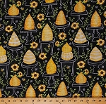 Cotton Beehives Bees Hives Bee Skeps Honeybees Sunflowers Floral Black Beekeepers Beekeeping Cotton Fabric Print by the Yard (GAIL-C6104-BLACK)