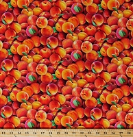 Cotton Peaches Harvest Fruits Allover Food Festival Summer Cotton Fabric Print by the Yard (578multi)