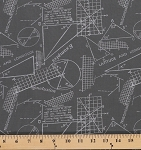 Cotton Modern Background Ink Geometry Formulas Examples Grey Cotton Fabric Print by the Yard (1583-20)