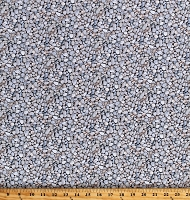 Cotton Pebbles Stones Small Rocks Nature Gray Landscape Medley Cotton Fabric Print by the Yard (564WHITE)