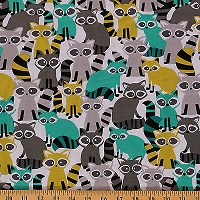 Cotton Raccoons Cute Animals Gray Teal Lime Green Raccoons on White Ricky Raccoon Lagoon Cotton Fabric Print by the Yard (CX6492-LAGO-D)