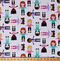 Cotton Girls of the World Cultures Races Multicultural Diversity Ethnic Children on White Cotton Fabric Print by the Yard (22335-10WHITE)