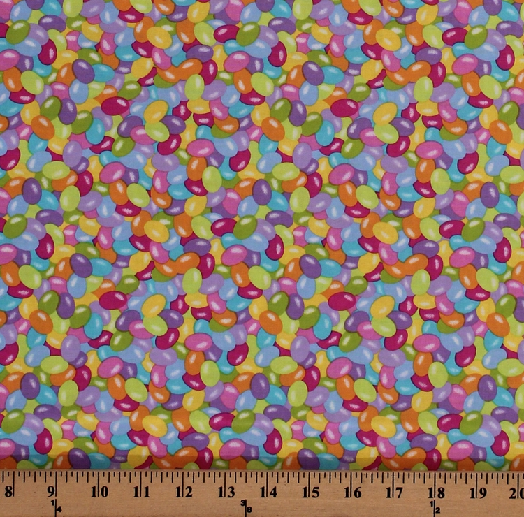 Cotton Jelly Beans Colorful Candy Candies Easter Sweets Food Spring Has Sprung Cotton Fabric Print by the Yard (3907-10)