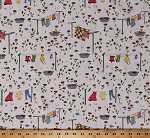 Cotton Clotheslines Laundry Clothes Flowers Birds on White Monday, Monday Cotton Fabric Print by the Yard (C7111-MULTI)