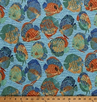 Cotton Tropical Fish Gold Metallic Shimmer Oasis Artisan Spirit Turquoise Cotton Fabric Print by the Yard (22090M-64-TURQ)