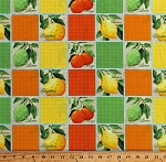 Cotton Oranges Lemons Limes Grapefruits Fruit Squares Citrus Grove Cotton Fabric Print by the Yard (25486-MUL1)