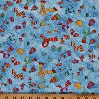 Cotton Winter Hats Scarf Scarves Mittens Gloves on Blue Eskimo Snow Cotton Fabric Print by the Yard (20651-42)