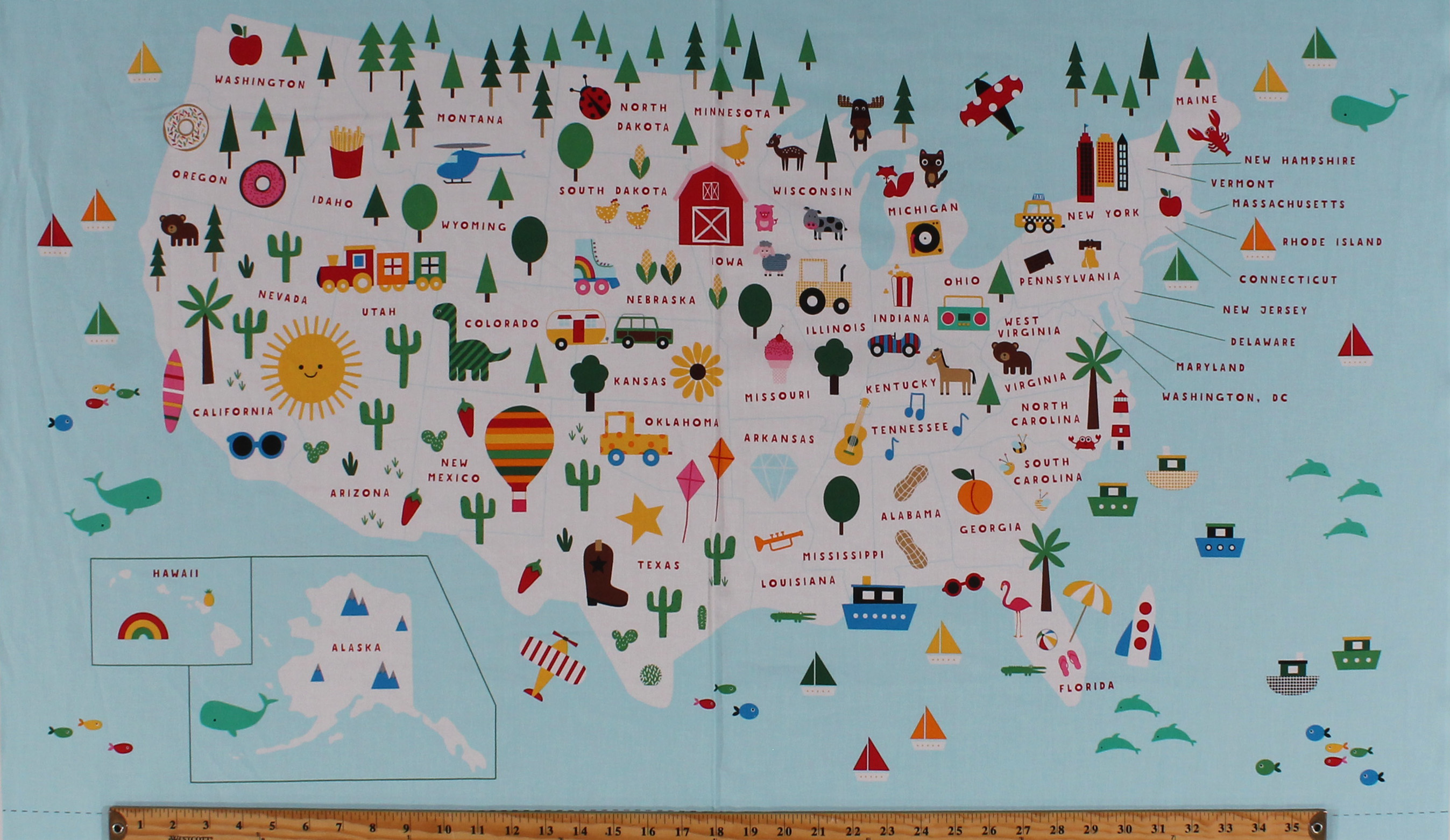 Picture of: 24 X 44 Panel United States Of America Map State Motifs Kids Usa Geography State To State Light Blue Cotton Fabric Panel Aak 19264 195bright