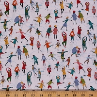 Cotton Wonderland Ice Skating People Winter White Christmas Cotton Fabric Print by the Yard (1461)