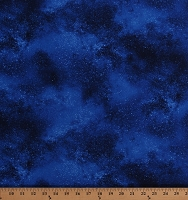 Cotton Starry Night Sky Stars Space Galaxy Blue Landscape Cotton Fabric Print by the Yard (NATURE-C6793-ROYAL)