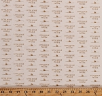 Cotton Little House on the Prairie Logos Houses Tan on Cream Cotton Fabric Print by the Yard (A-7982-L)