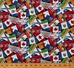 Cotton Canada Provincial Flags on Black Canadian Provinces Geography Canadian Classics Digital Print Cotton Fabric Print by the Yard (DP22530-99BLACK)